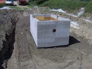 Manufatto in cemento per la raccolta degli scarichi fognari a Carnola, Reggio Emilia, Cliente: IREN