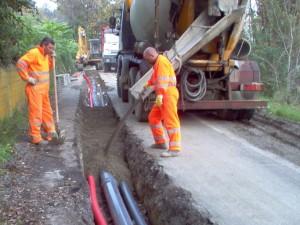 Posa condotte acquedotto in PVC a Nirano, Modena